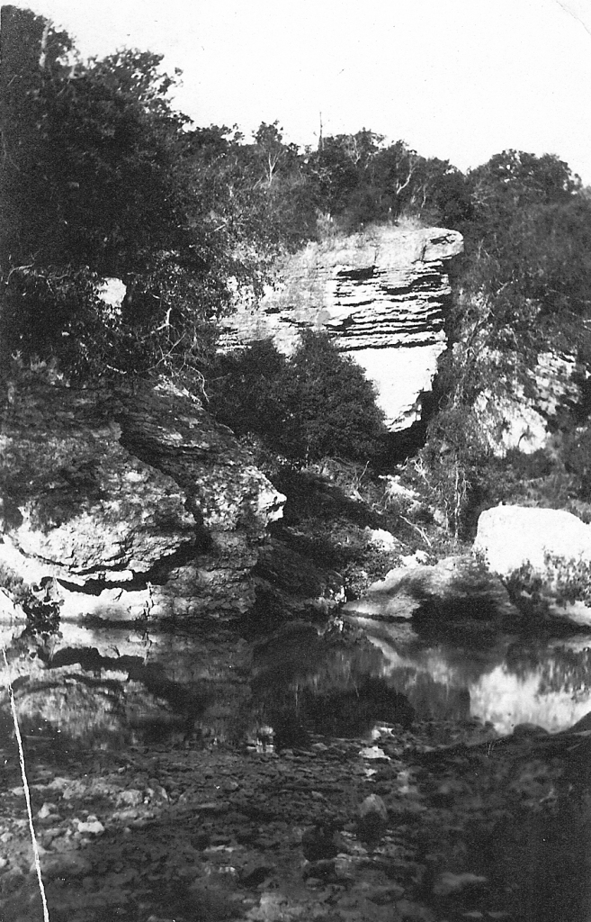"Rock formation referred to as the ""split rock"" along Shoal Creek"
