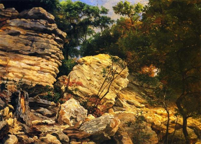 """""""Split Rok on Shoal Creek"""", oil on academy board by Hermann Lungkwitz (1813–1891)"""